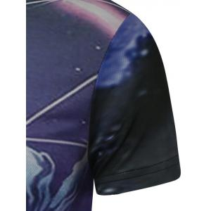 Round Neck 3D Deer Print Galaxy T-Shirt - COLORMIX 2XL