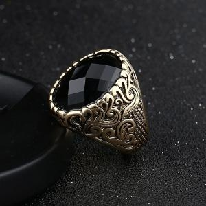 Carved Burnished Faux Gem Finger Ring - CHAMPAGNE 18