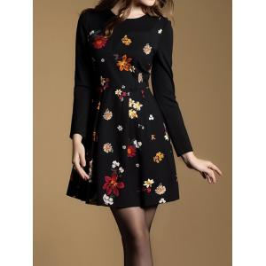 Tiny Floral Fit and Flare Dress - BLACK 2XL