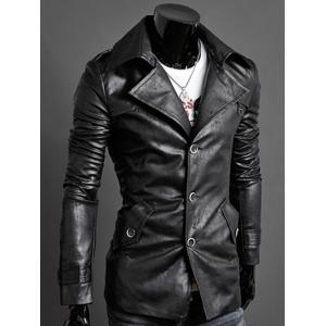 Slim-Fit Notched Collar Epaulet Design PU Jacket -