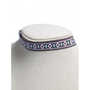 Square Embroidered Choker Necklace - COLORMIX
