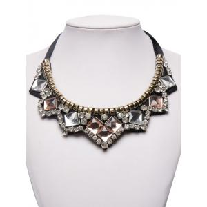 Faux Gemstone Rhinestone Geometric Necklace - BROWN