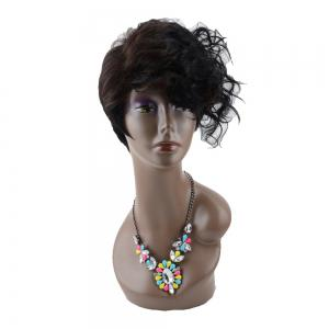 Short Fluffy Curly Side Bang Mixed Color Heat Resistant Fiber Wig -
