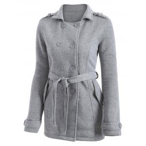 Double-Breasted Fitted Belted Overcoat - GRAY S