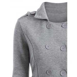 Double-Breasted Belted Overcoat - GRAY M