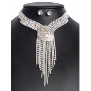 Rhinestone Fringed Jewelry Set - SILVER