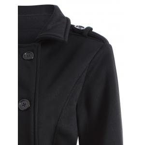 Double-Breasted Fitted Belted Overcoat - BLACK M