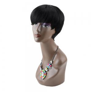 Handsome Short Straight Full Bang Boy Cut Synthetic Wig - BLACK