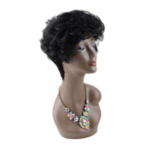 Short Boy Cut Fluffy Curly Neat Bang Heat Resistant Fiber Wig -