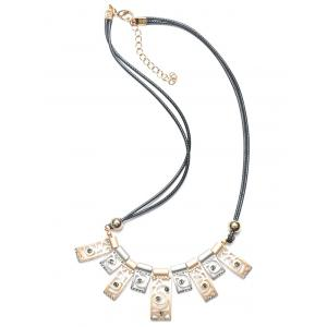 Layered PU Leather Polished Floral Geometric Necklace -