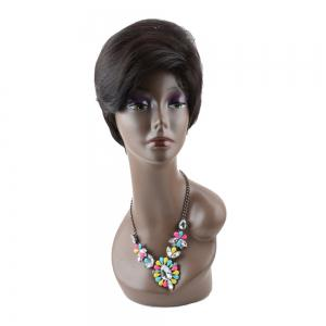 Short Straight Inclined Bang Spiffy Heat Resistant Fiber Wig -