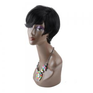 Virile Short Straight Side Bang Heat Resistant Fiber Wig - BLACK