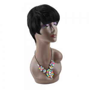 Short Straight Neat Bang Boy Cut Heat Resistant Fiber Wig -