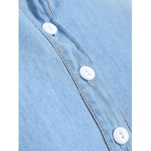 Plus Size Half Button Light Denim Shirt - DENIM BLUE 5XL