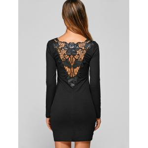 Lace Up Long Sleeve Lace Mini Bodycon Dress -