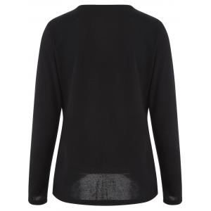 Asymmetric Buttoned T-Shirt - BLACK XL