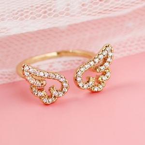 Cute Rhinestone Angel Wings Finger Cuff Ring -