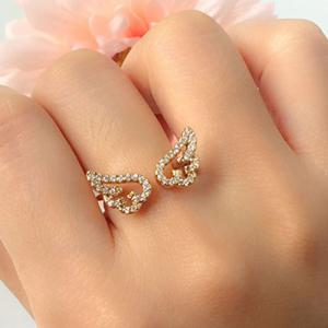 Cute Rhinestone Angel Wings Finger Cuff Ring - GOLDEN ONE-SIZE