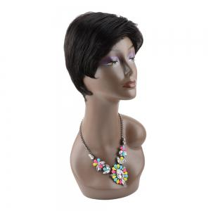 Masculine Short Straight Side Bang Synthetic Capless Wig -