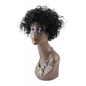 Impressive Short Towheaded Inclined Bang Curly Synthetic Wig -