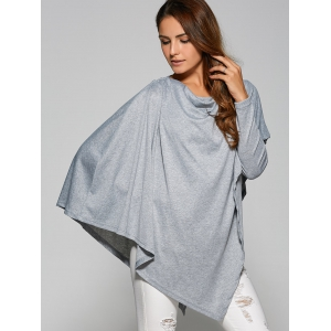 Asymmetrical Cape Loose T-Shirt - GRAY XL