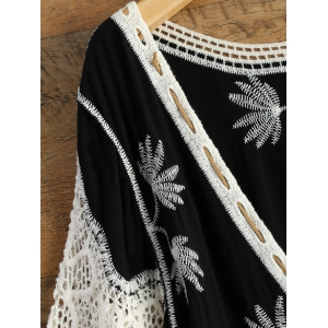 Crochet Trim Embroidered Relaxed Plunge Top -