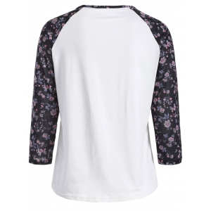 Tiny Floral Raglan Sleeve T-Shirt - WHITE XL