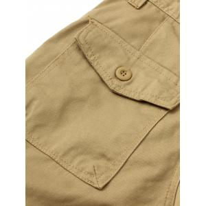 Zipper Fly Straight Leg Splicing Pockets Cargo Pants - KHAKI 40