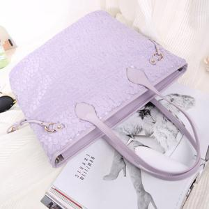 Sequins PU Leather Spliced Handbag - PURPLE