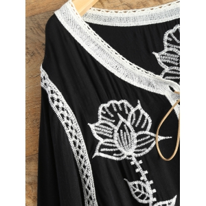 Lace Up Embroidered Tunic Top -