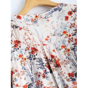 V Neck High Slit Floral Shirt -