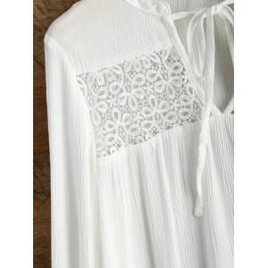 V Neck Butterfly Sleeve Chiffon Spliced Blouse - WHITE XL
