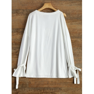 Long Sleeve Top With Tie Detail - WHITE 2XL