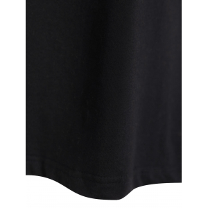 Loose Lace Spliced T-Shirt - BLACK 2XL