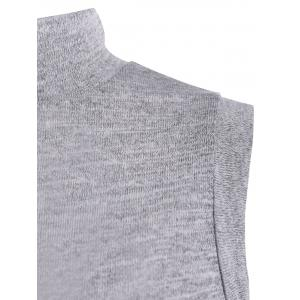 Lace Up Back High Collar Sleeveless Sweater - GRAY L