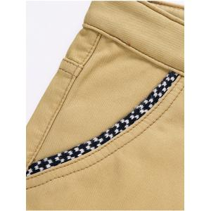 Knitting Spliced Edging Zipper Fly Narrow Feet Flocking Pants - KHAKI 33