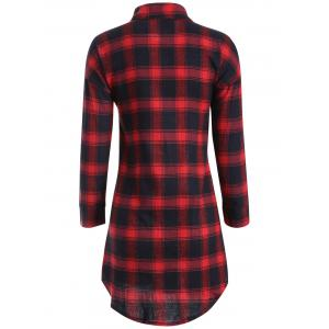 Button Up Plaid Long Flannel Shirt - RED XL