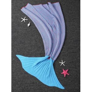 Thicken Knitted Dot Sleeping Bag Kids Wrap Sofa Mermaid Blanket - BLUE