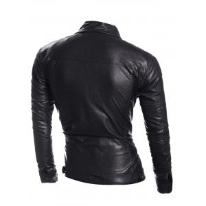 Zip Pocket Stand Collar Faux Leather Jacket - BLACK XL