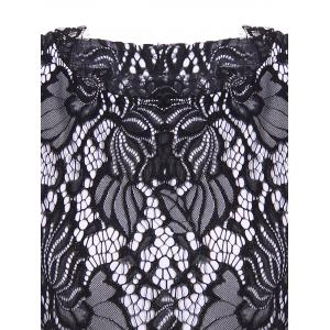 Lace Hook Patch Pencil Dress with Sleeves - BLACK 2XL