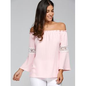 Off Shoulder Lace Insert Flare Sleeve T-Shirt - PINK XL