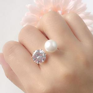 Artificial Diamond Pearl Rhinestone Wedding Engagement Ring - GOLDEN ONE-SIZE