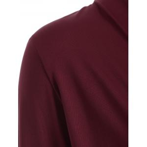 Surplice Stretchy Slimming T-Shirt - WINE RED 2XL