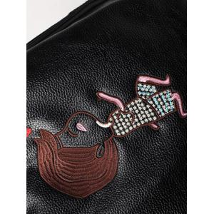 PU Leather Embroidery Zippers Backpack -