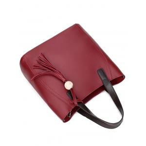 Tassels Colour Spliced Stitching Tote Bag - WINE RED