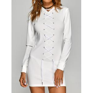 Hooded T Shirt Lace-Up Dress - WHITE XL