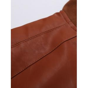 Stand Collar Rib-Hem Zip Up Faux Leather Jacket - BROWN XL