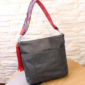 Colored Strap Tassel PU Leather Shoulder Bag - GRAY