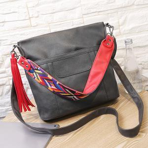 Colored Strap Tassel PU Leather Shoulder Bag -