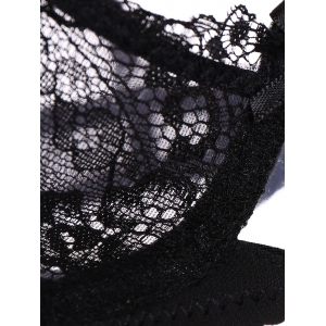 Embroidered Lace Underwear Bra Panty Set - BLACK 85C